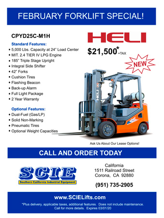 SCIE February Forklift Special